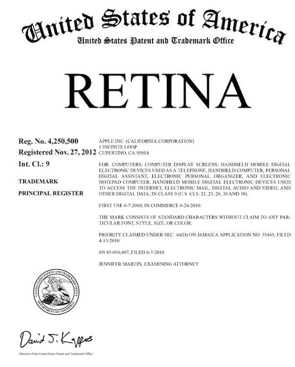 Компания Apple зарегистрировала торговые марки Retina и Game Center