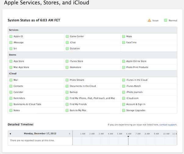 Проверить работоспособность сервисов Apple можно с помощью специального ресурса