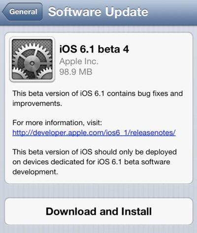 Скачать iOS 6.1 beta 4 для разработчиков