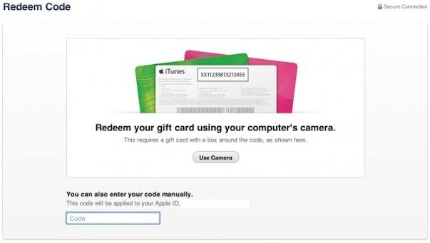 Код iTunes Gift Card теперь можно активировать с помощью камеры компьютера