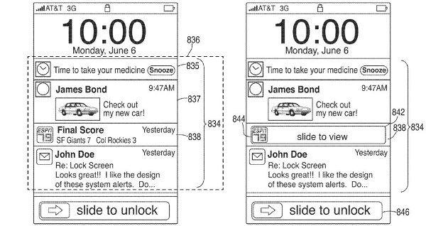 Apple патентует Центр уведомлений скопированный с Android