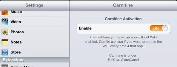 настройка carnitine