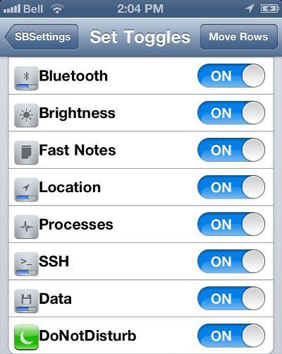 SBSettings do not disturb toogle