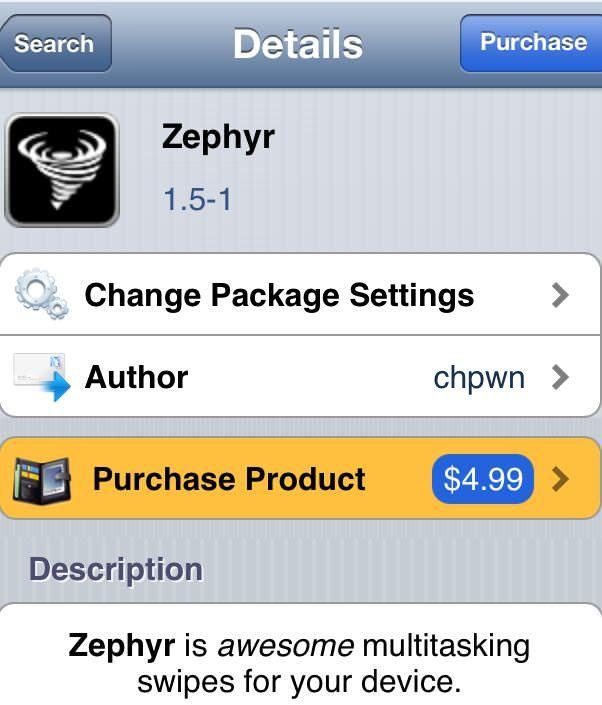 Джейлбрейк твик из Cydia zephyr 1.5
