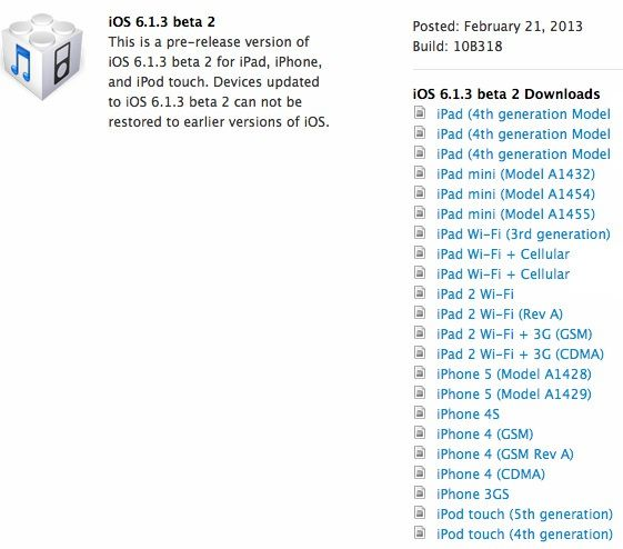 Скачать iOS 6.1.3 beta 2