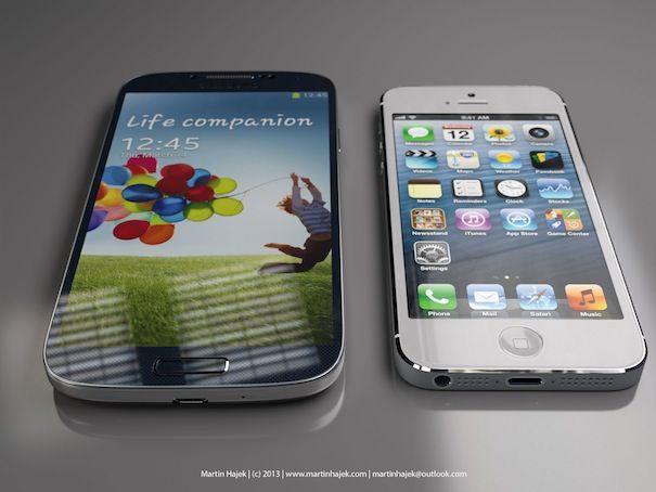 Сравнение размеров iPhone 5 и Samsung Galaxy S4