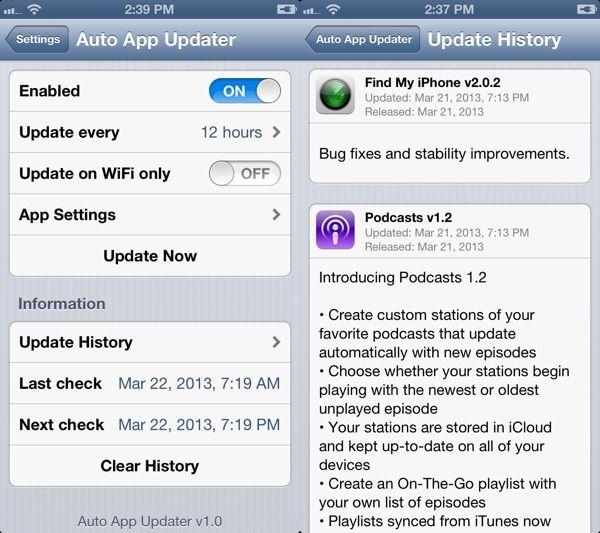 Auto App Updater джейлбрейк твик