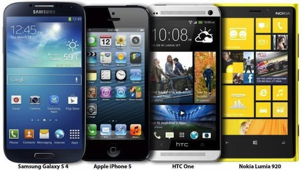 samsung galaxy s4, iphone 5, htc one, nokia lumia 920