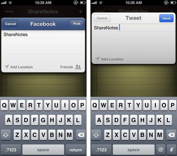 ShareNotes для Facebook и Twitter