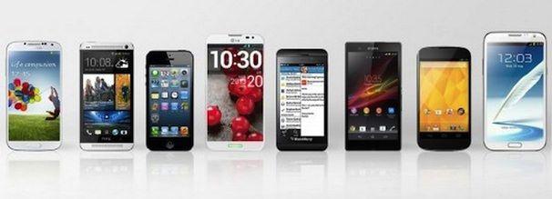 Samsung Galaxy S IV HTC One Apple iPhone 5 LG Optimus G Pro BlackBerry Z10 Sony Xperia Z LG (Google) Nexus 4 Samsung Galaxy Note II