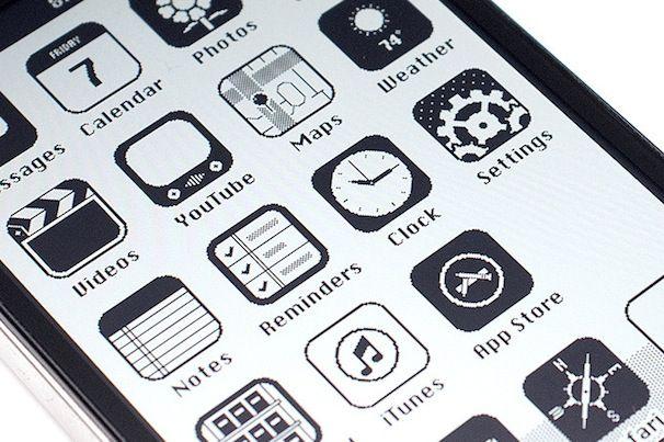 iOS 7 черно-белая