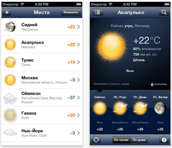 gismeteo гисметео для iphone