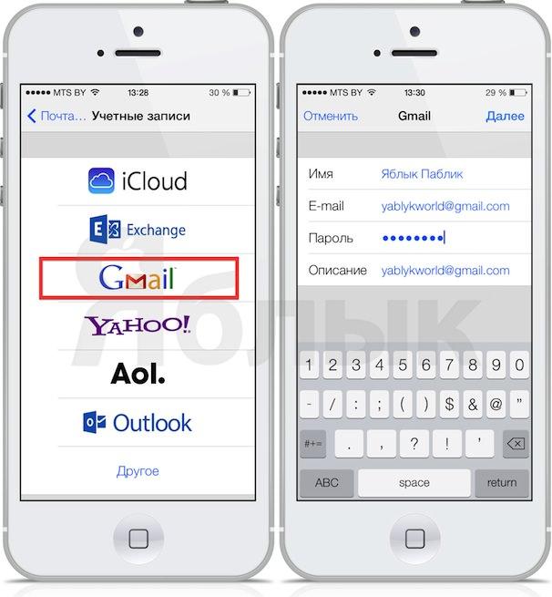 Контакты gmail на iPhone