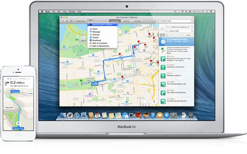 maps mac to iphone