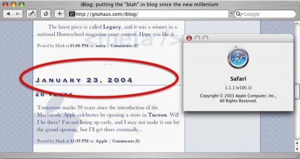 1 версия Safari для Macintosh