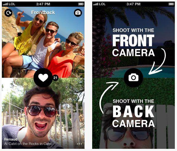 frontback как снимать фото двумя камерами iPhone