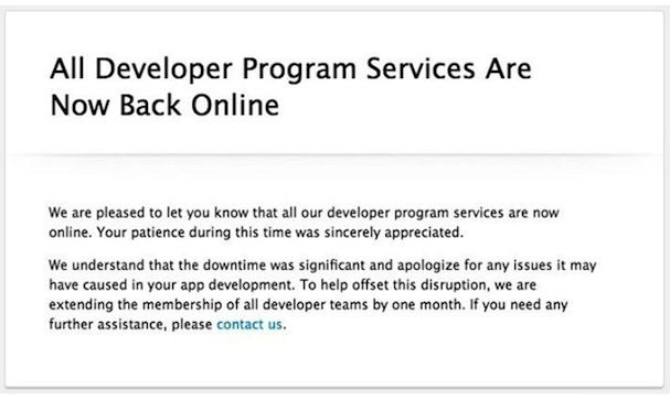 Apple восстановила работу Центра разработчиков