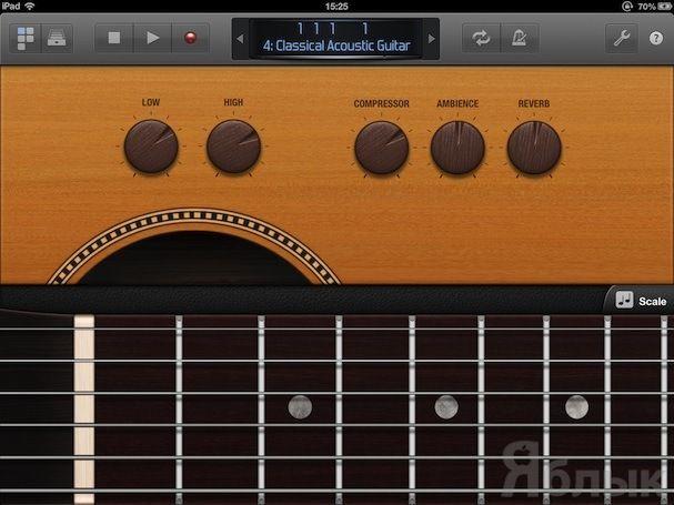Гитарный гриф в Logic Remote