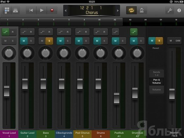 Кнопки Mute и Solo в Logic Remote