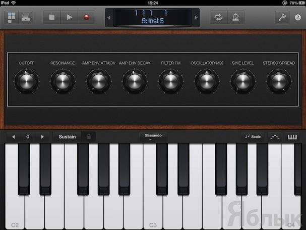 Фортепианная клавиатура в Logic Remote