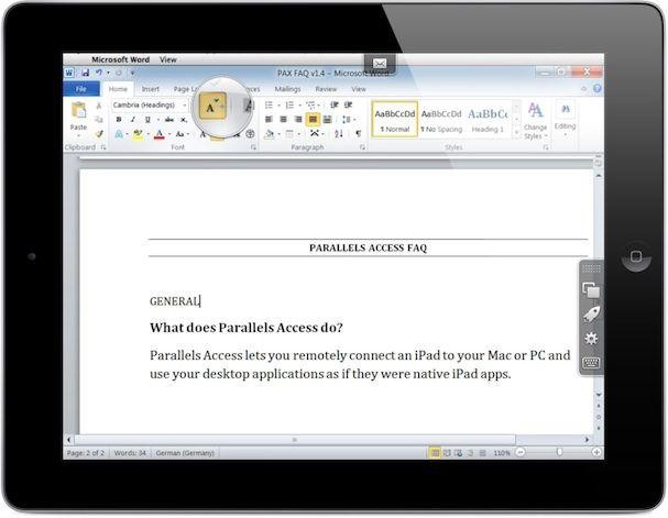 word управление Windows или Mac компьютером с экрана iPad