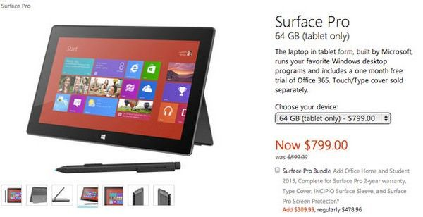 Microsoft закрепила 100-долларовую скидку на планшеты Surface Pro