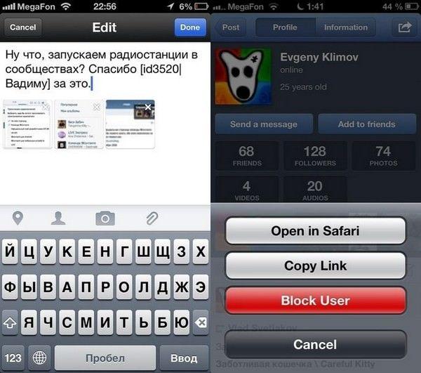 приложение Вконтакте для iOS (VK App 1.4)