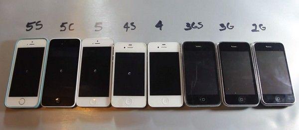 iPhone 5S vs 5C vs 5 vs 4S vs 4 vs 3Gs vs 3G vs 2G