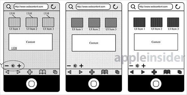 Apple зарегистрировала патент о регулировании яркости отдельных элементов интерфейса