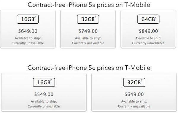 цены на iPhone 5S и iPhone 5C