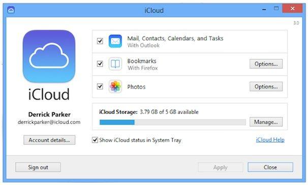 iCloud панель управления 3.0