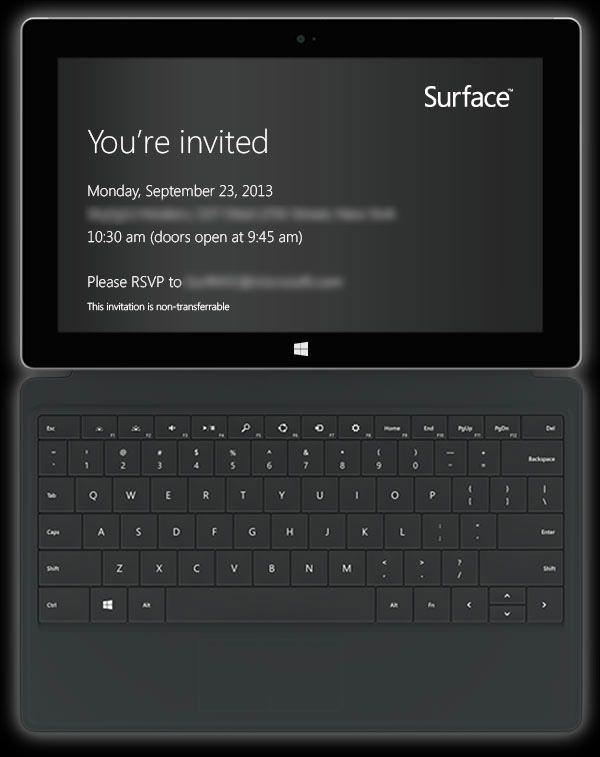приглашение на презентацию Surface 2