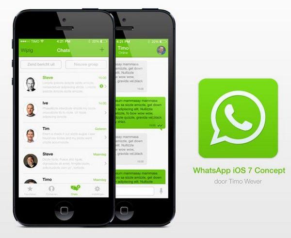 дизайн WhatsApp в стиле iOS 7