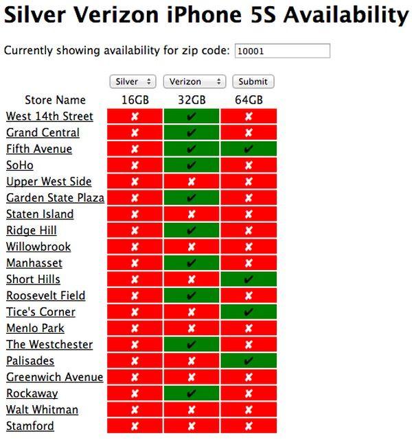 наличие iPhone 5S