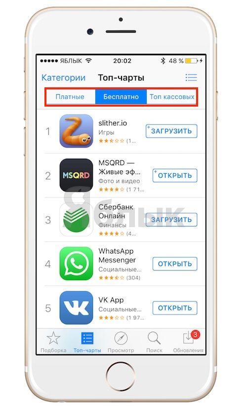 Топ-чарты в App Store