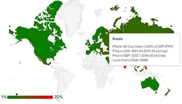 Цены на iPhone 5s в разных странах