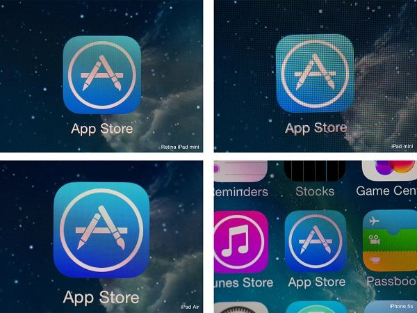 Сравнение дисплеев iPad mini 2, iPad mini, iPad 4 и iPhone 5s