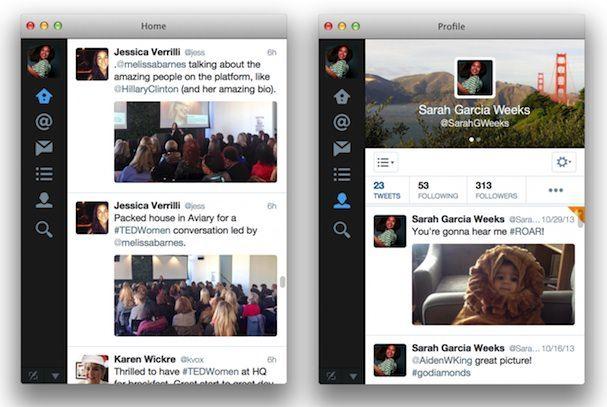 Twitter для Mac 3 0 профиль и лента