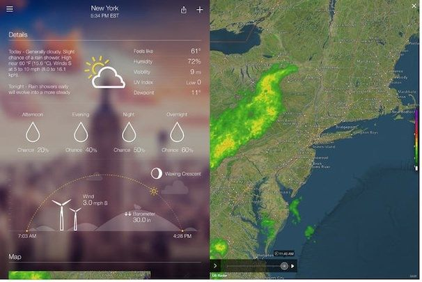 Yahoo Weather погода на iPad