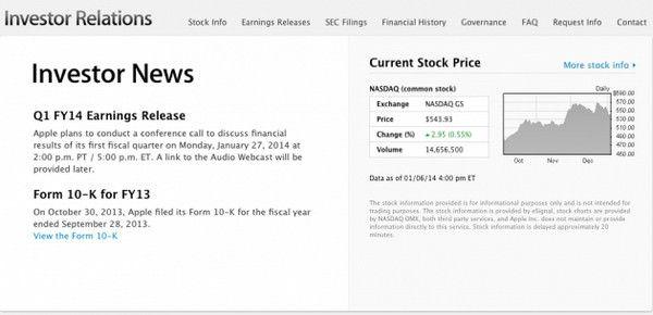 Apple огласит результаты первого финансового