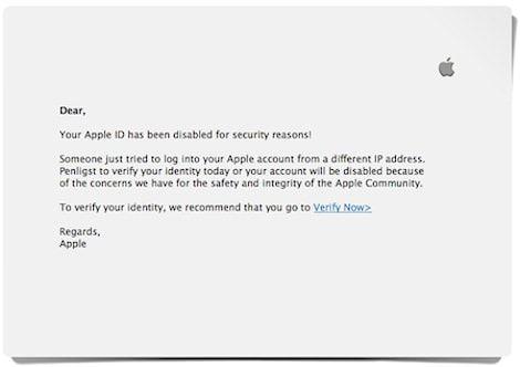 Кража Apple ID по email (фишинг)