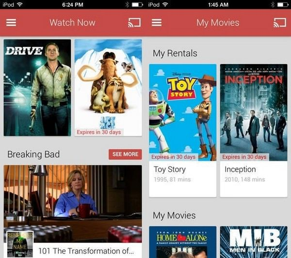 Приложение Google Play Movies & TV