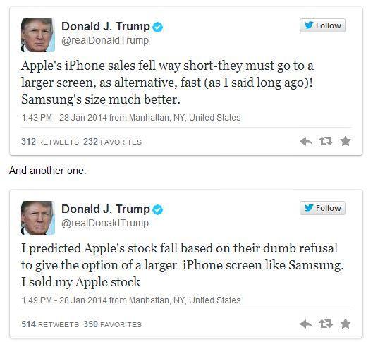 Дональд Трамп продал акции Apple