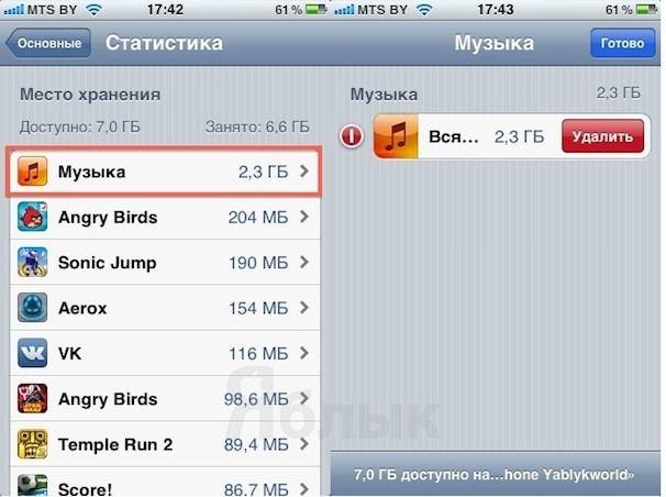 Как удалить Музыку в iPhone 3Gs