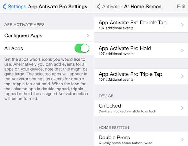 настройки твика App Activate Pro