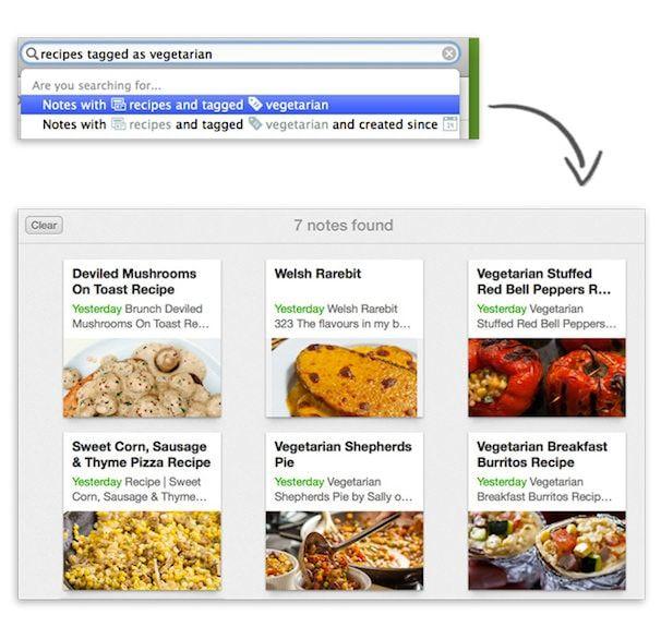 умный поиск в evernote для mac