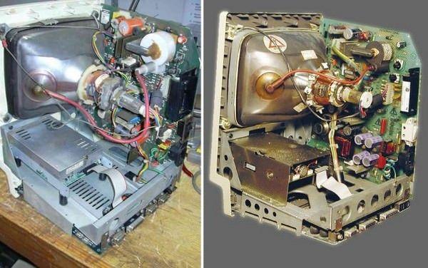 Внутреннее строение Unitron 512 (слева) Apple Macintosh 512R (справа)