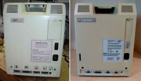 Задняя панель Unitron 512 (слева) Apple Macintosh 512R (справа)