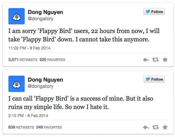 Разработчик Flappy Bird пообещал удалить игру