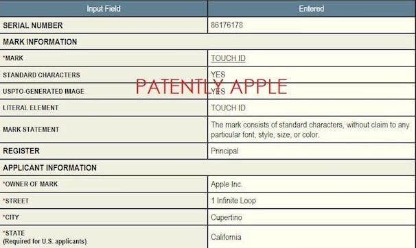 Патент на Touch ID